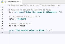 Python Program To Convert Kilometers Km To Miles Mi