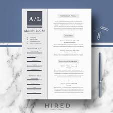 Minimalist Resume Professional Modern and Minimalist Resume Template for MS Word 93