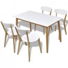 Table De Cuisine Scandinave Rectangulaire Et 4 Chaises Naturel Et