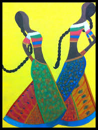 indian dance painting dancing girls indian folk art by madhuri krishna