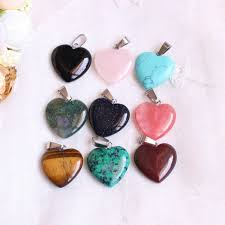 details about gemstone pendant necklace natural quartz crystal heart chakra healing stone gift