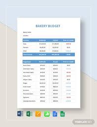 Bakery Budget Template Word Excel Google Docs Apple