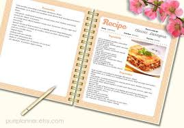 recipe template cook book pattern editable recipe pages recipe book blank instant doc file letter size