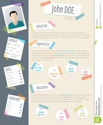 Cool Resume Cv With Post Its And Color Tapes Stock Vector