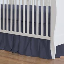 solid navy crib skirt gathered
