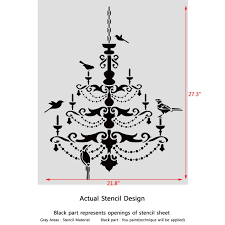 chandelier with birds stencil for wall decor painting decorate large template