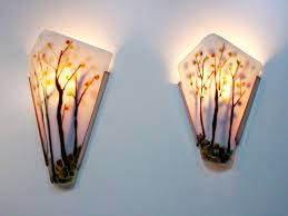 trees fused glass wall sconce artisan