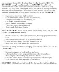General Labor Resume