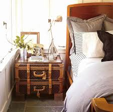 Furniture:Bedroom Decor With White Cozy Bed And Grey Pillows Near Brown  Vintage Case Trunks