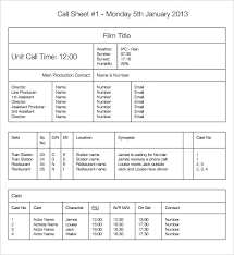 call sheet template excel call sheet template free call sheet template commercial call sheet