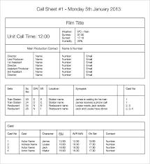 call sheet template excel call sheet template free call sheet template commercial call sheet
