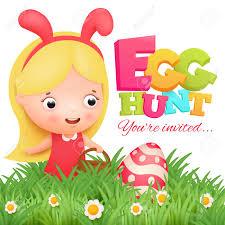 Little Girl In Pink Bunny Costume Easter Egg Hunt Invitation