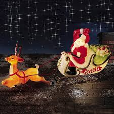 Santa with Sleigh Reindeer Blow Mold Christmas Decoration - Night Scene ...