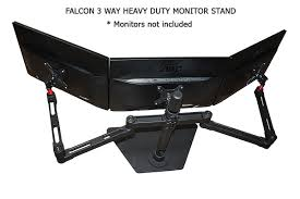 fronnar 3 way triple monitor arm monitor stand heavy duty up to 29 10kg