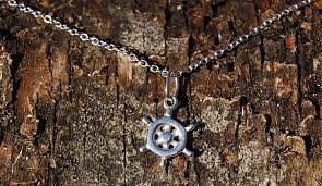 sterling silver ship wheel necklace
