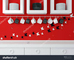 Red Wall Kitchen Modern Kitchen Design White Furniture Red Stock Illustration
