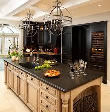 modern kitchen with elegant black kitchen cabinet vintage iron round chandelier circusy pendant lamp light and dark black granite countertop