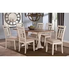baxton studio roseberry 7 piece beige fabric and distressed wood dining set