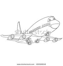 coloring page of flying plane penger aircraft airliner cartoon transport coloring book