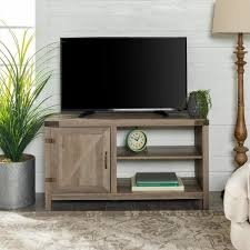 grey wash rustic farmhouse barn door tv stand storage console with shelving