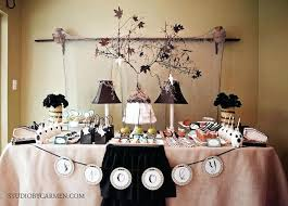 frightening fabulous dessert table party decorations with fascinating chandelier and dried leaves table space decorating ideas