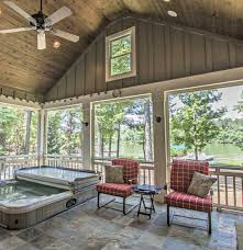 screen porch flooring options inspirational lakeside screened porch with fireplace hot tub slate floors and
