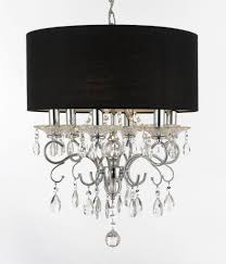 details about silver mist crystal drum shade chandelier lighting black shade pendant