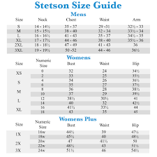Stetson Size Chart Excel Stack Columns