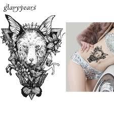 1 шт переводной рисунок водонепроницаемый тату лиса лошадь шаблон стикер дизайн