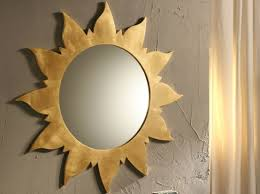Bathroom Decorative Bathroom Oval Mirror With Sun Frame Golden