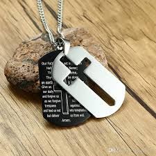 whole men s cross dog tag necklace 18k gold plated stainless steel english words prayer necklaces 2 layer dog tags pendant jewelry gold chains for