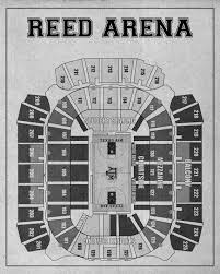 Reed Arena Seating Chart Vintage Print Of Reed Arena Seating Chart Blueprint By