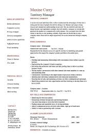 Territory Manager Resume Regional Job Description Sample Example