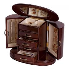 wooden jewelry box in walnut finish rounded design interior mirror