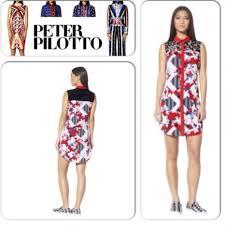 Peter Pilotto Shirt Dress Red Floral Print S M L Boutique