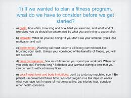 A Fitness Plan Planning A Fitness Program Fitness Fundamentals Ch 8 L3 Ppt Download
