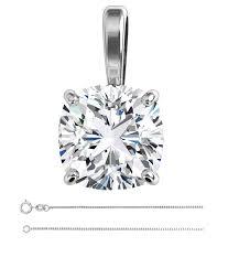 cushion diamond solitaire pendant necklace 14k white gold 1 5 ct g vs2 enhanced egl