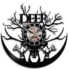 office wall clocks large. Beautiful Deer Theme Gift Vinyl Record Designed Wall Clock Decorate Your Home With Decor Vintage Art Large Office Clocks Outdoor For Walls