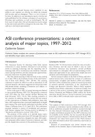 asi conference presentations a content analysis of major topics asi conference presentations a content analysis of major topics 1997 2012 digital library