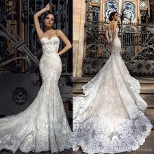 2017 crystal design mermaid wedding dresses sweetheart fitted lace