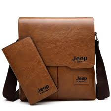 <b>JEEP BULUO Man</b> Messenger Bag 2 Set <b>Men</b> Pu Leather Shoulder ...
