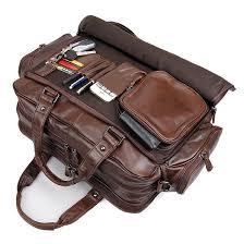 bag leather real briefcase messenger laptop vintage satchel 16 men shoulder s brown new business handmade