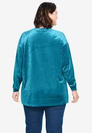 Platinum Plush Jeans Size Chart Plush Velour Tunic Sweatshirt