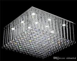 contemporary square crystal chandelier k9 crystal rain drop luxury flush mount led crystal light res de cristal for living room star chandelier wedding