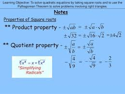 learning objective to solve quadratic equations by taking square roots