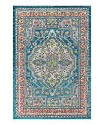 blue yellow medallion bohemian flair rug