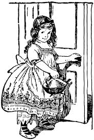 open door clipart black and white. Girl Opening Door \u0026 Holding Tea Kettle Open Clipart Black And White