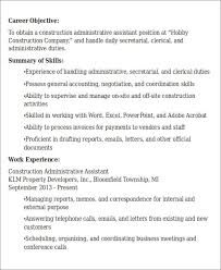 construction administrative assistant resume objective construction administrative assistant resume