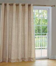Insulated Linen Lined & Interlined Grommet Patio Panel With Detachable Wand  - 84L_115034