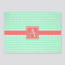 Mint and coral White Mint Coral Chevron 5x7area Rug Cafepress Coral And Mint Area Rugs Cafepress
